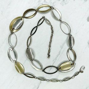 Chico's Silver and Gold Tone Hammered Necklace